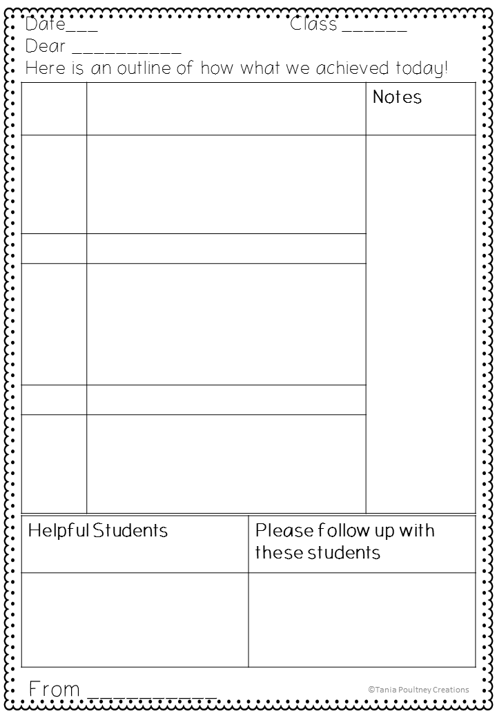 Classroom ponderings a note for the teacher for Day plan template for teachers