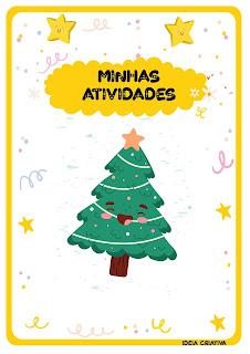 Capas de atividades com pinheirinhosde Natal para imprimir
