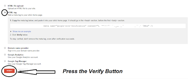 google webmasters verification code