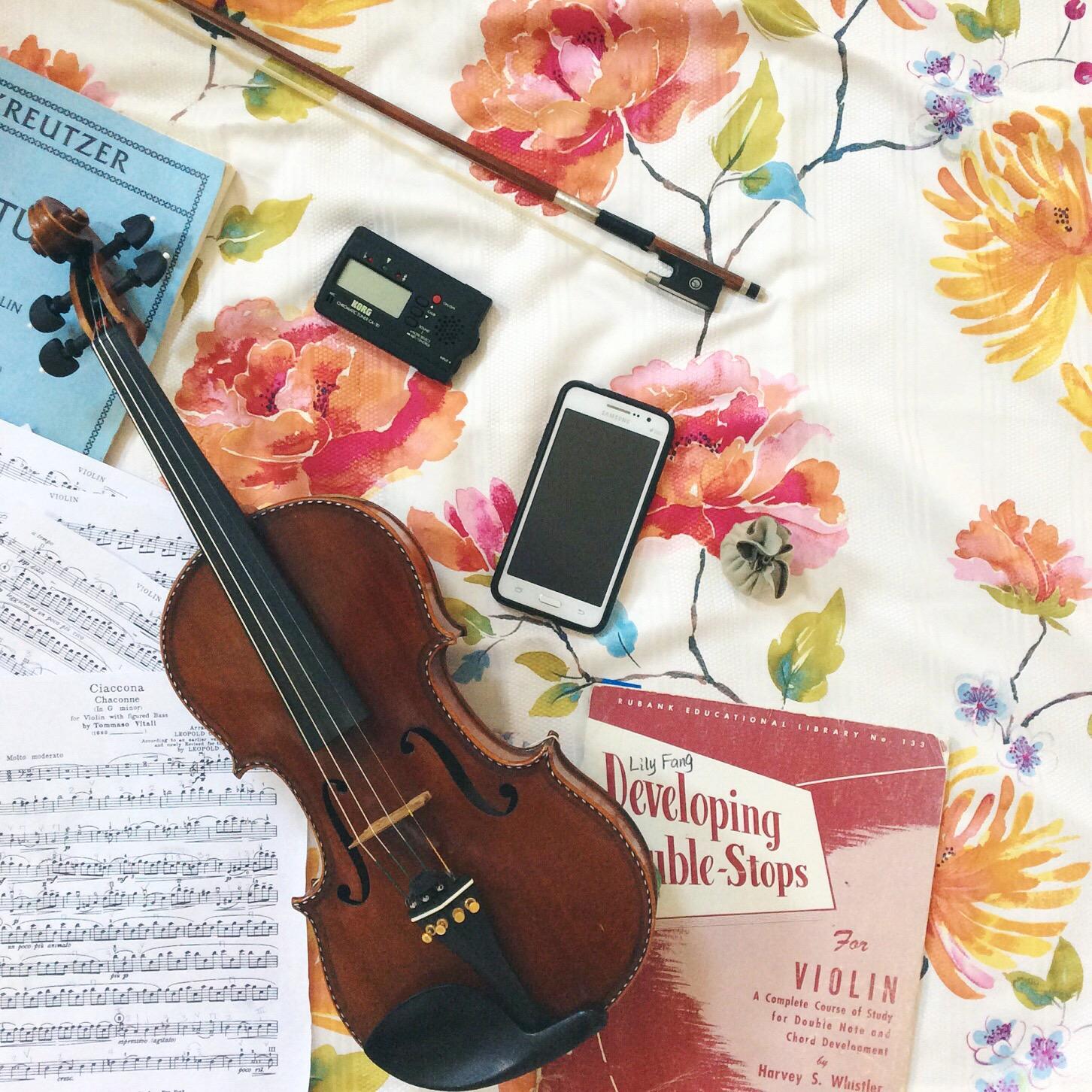 violin flatlay
