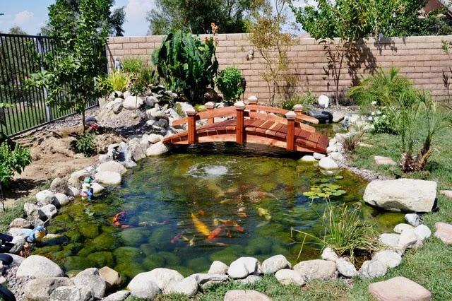 Membuat Hiasan Jembatan Kolam Ikan Minimalis