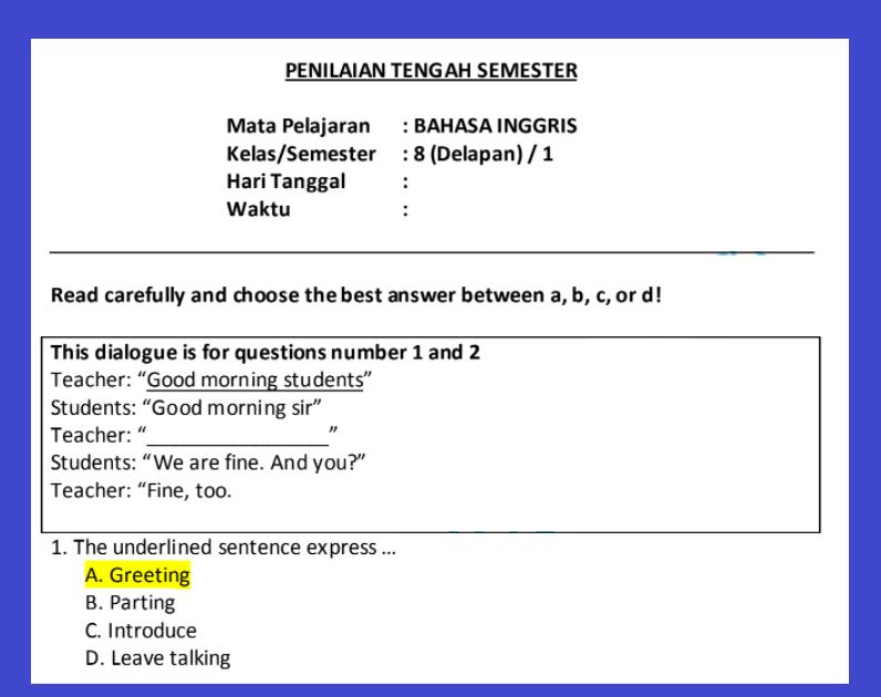 gambar soal pts bahasa inggris kelas 8 semester 1