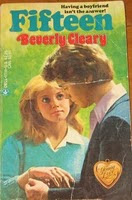 1970-era cover of Fifteen with girl looking up at boy adoringly, Cooper Black title type in red