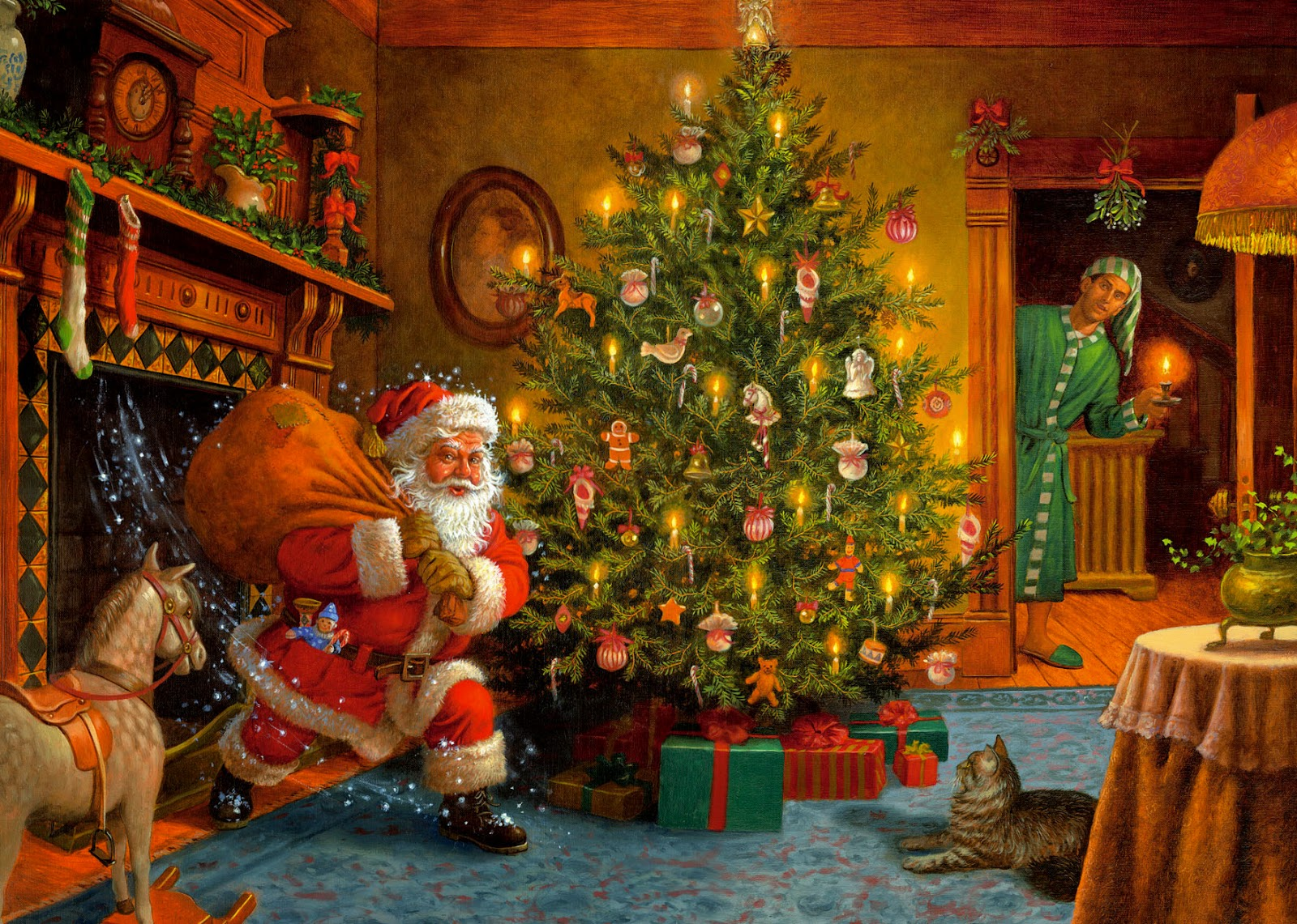 Santa enters house through chimney placing secret gifts ...