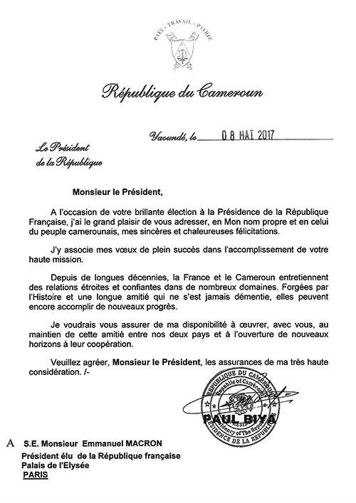 h e paul biya pledges allegiance to new france president macron in