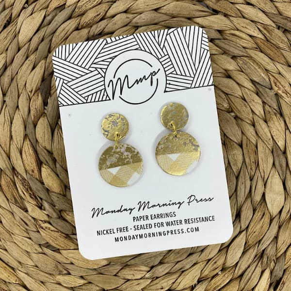 gold and white gingham pattern paper earrings
