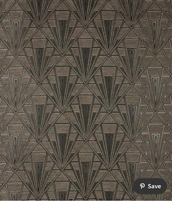 gold-beige chenille upholstery velvet with art deco print