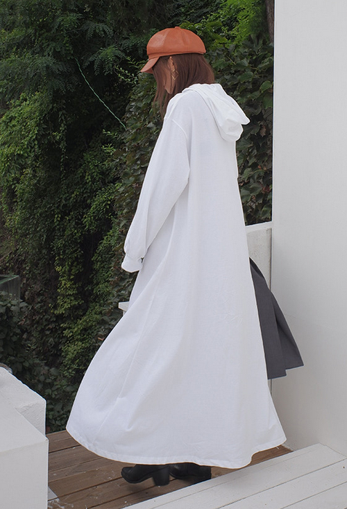 Hooded Solid Tone Long Dress