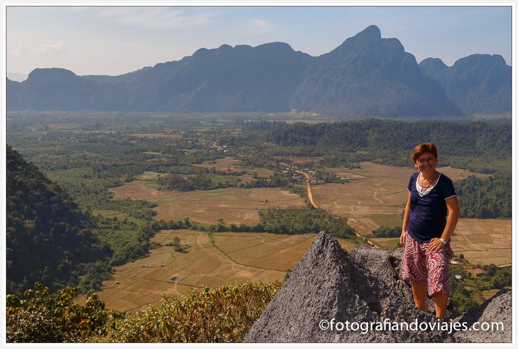Vistas desde Phan Ngeun en Vang Vieng, Laos