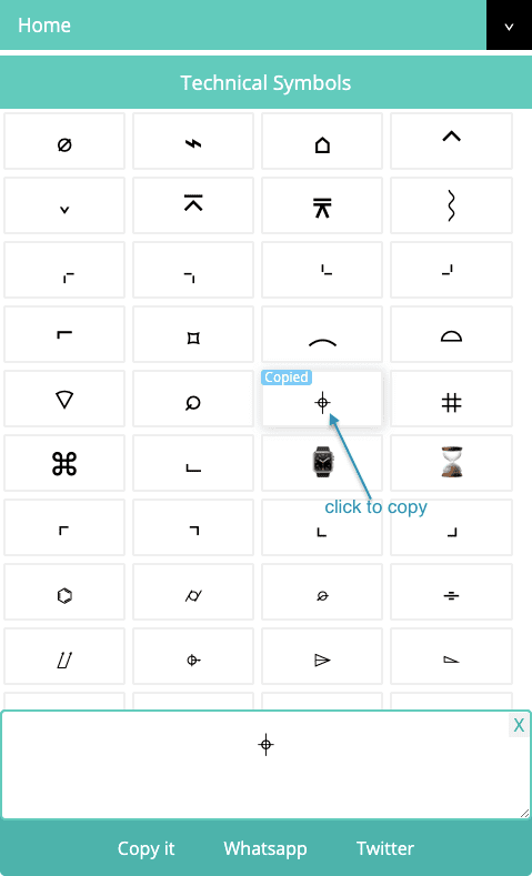 Technical Symbols - Click to Copy Technical Symbol