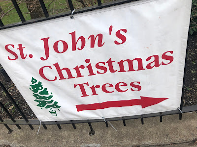 """Sign, """"St. John's Christmas Trees,"""" tree graphic, arrow graphic pointing to the right"""