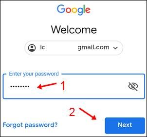 google, welcome, gmail address,assword, see and hide, forgot password, next