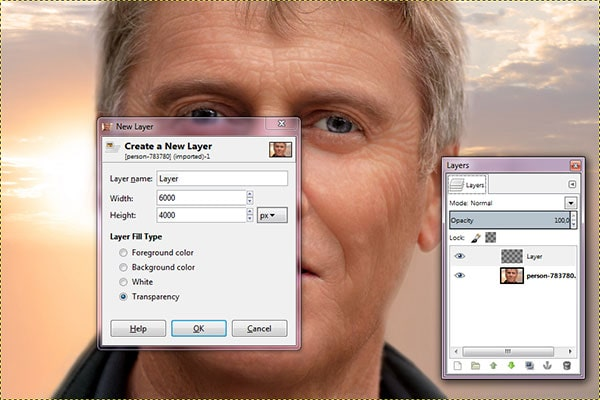 Open the main image and then create a new layer.