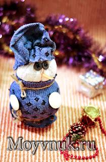 Снеговик из старых носков, фото