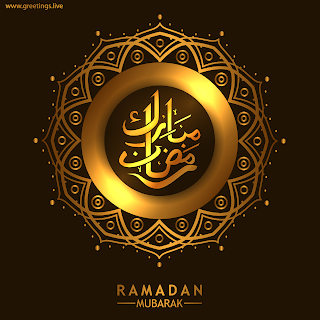 Golden islamic design Ramadan mubarak greetings with calligraphy HD images