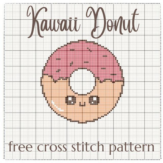 Kawaii Donut - free cross stitch pattern