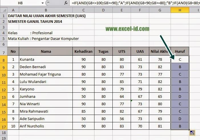 Membuat Daftar Nilai UAS Mahasiswa dengan Rumus IF(And