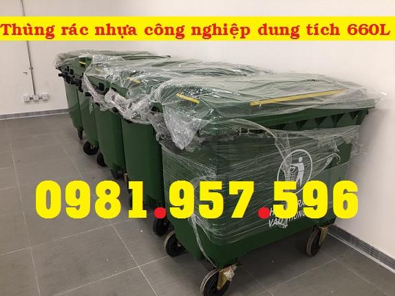 Xe gom rác 660L, xe đẩy rác bằng nhựa 660L, xe đẩy rác 4 bánh