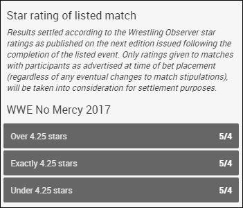WWE No Mercy 2017 Wrestling Observer Star Ratings Betting Odds For Roman Reigns .vs. John Cena