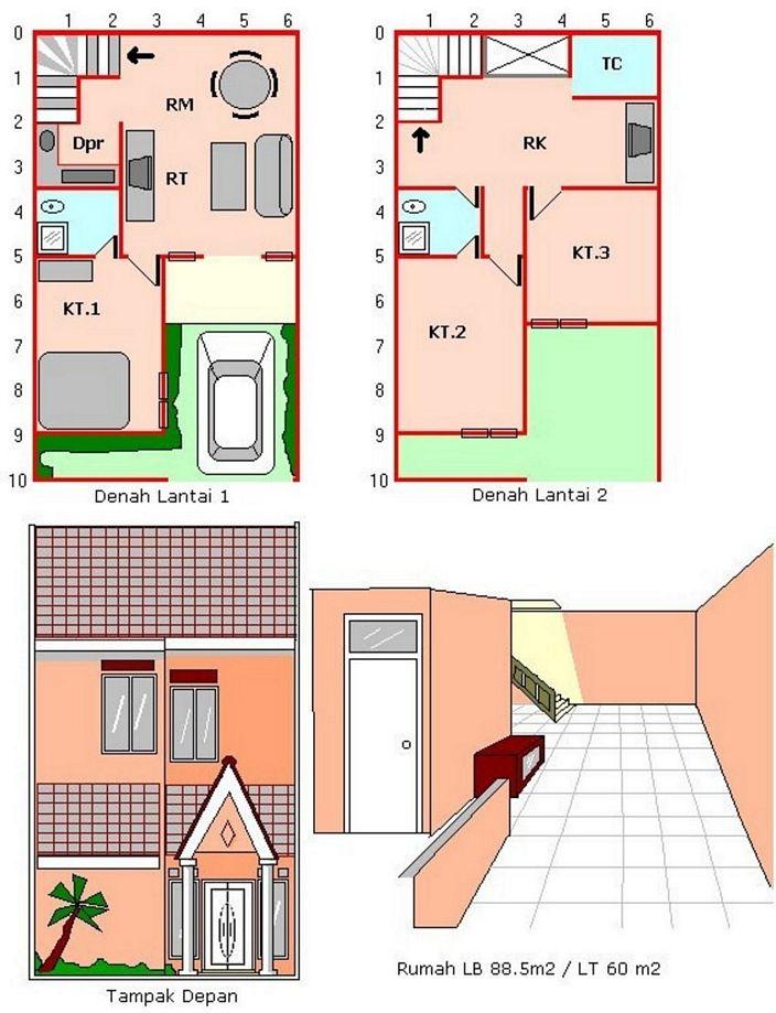 denah rumah luas tanah 100 m2 yang bagus