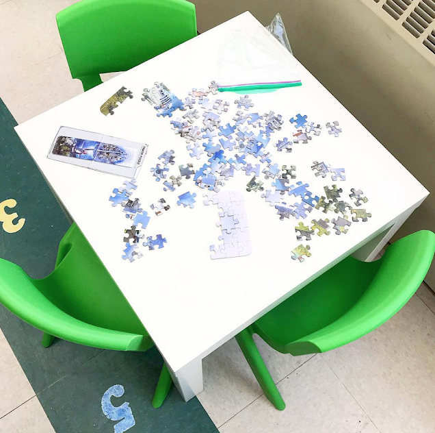 Kindergarten and first grade puzzle table