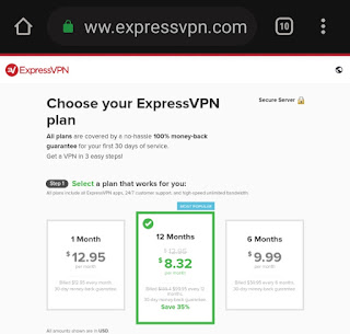 ExpressVPN plans and Pricing