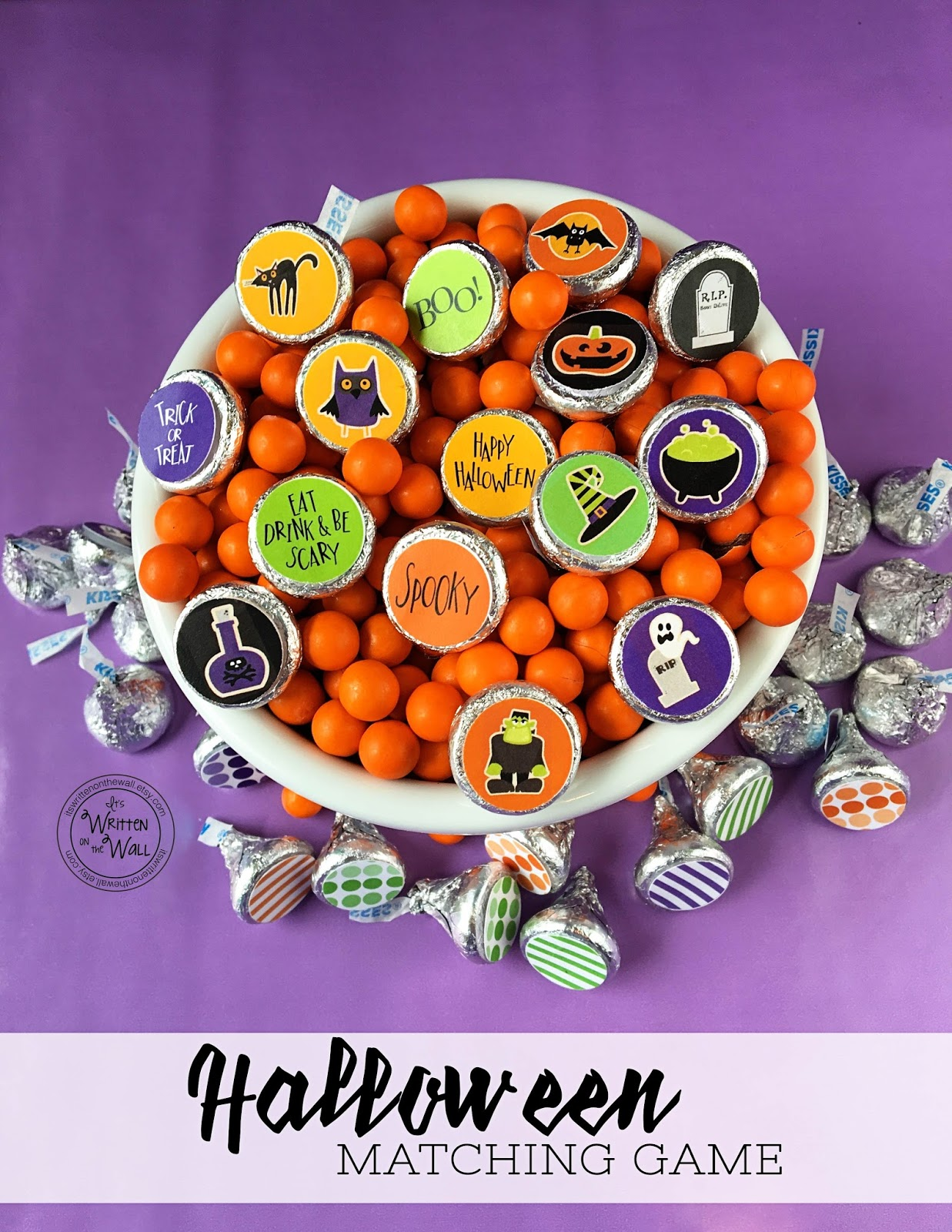 It S Written On The Wall Sweet Halloween Matching Game With Hershey Kisses Game Pieces