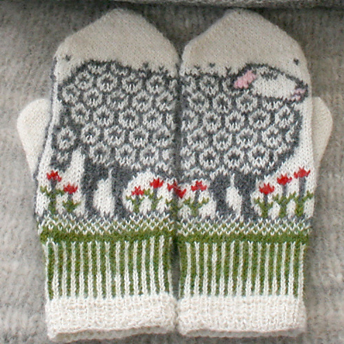 Colorwork mittens with sheep.  Knitted.