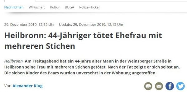 44-year old Albanian stabbed his wife in Germany on children's eyes