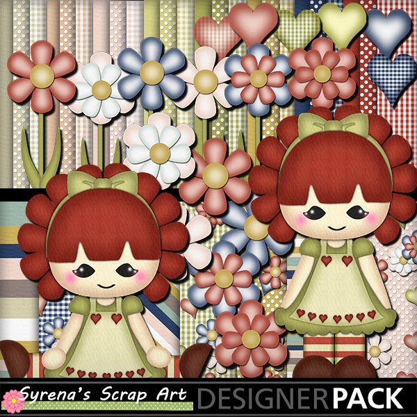 Raggedy Girl digital scrapbook kit