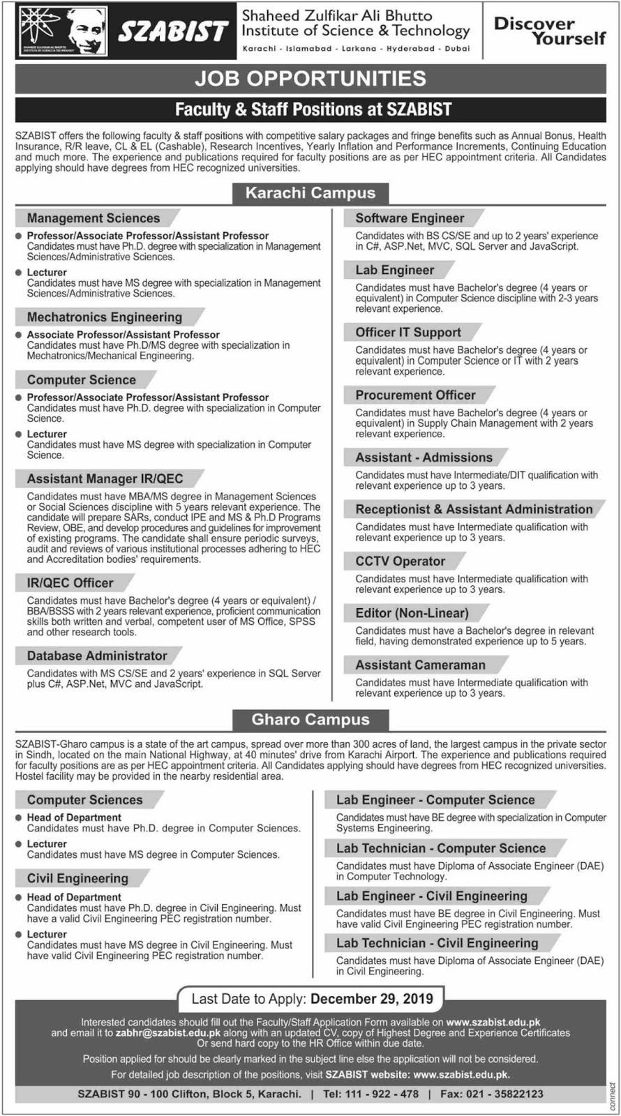 Latest SZABIST Jobs 2019 Shaheed Zulfikar Ali Bhutto Institute of Science & Technology