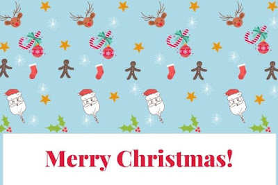 Merry Christmas written on Santa and Christmas decoration background.