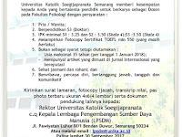 Lowongan Dosen Universitas Katolik Soegijapranata Semarang