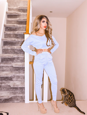 What is the best place to buy Loungewear? The Femme Luxe Sky Blue Crop loungewear set in model Deanna.