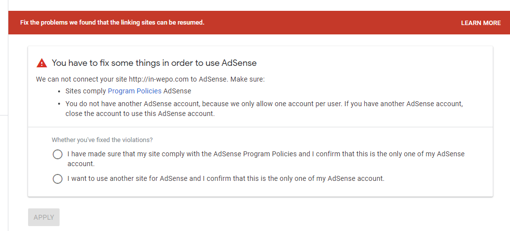 Rejection Have Doble AdSense Account