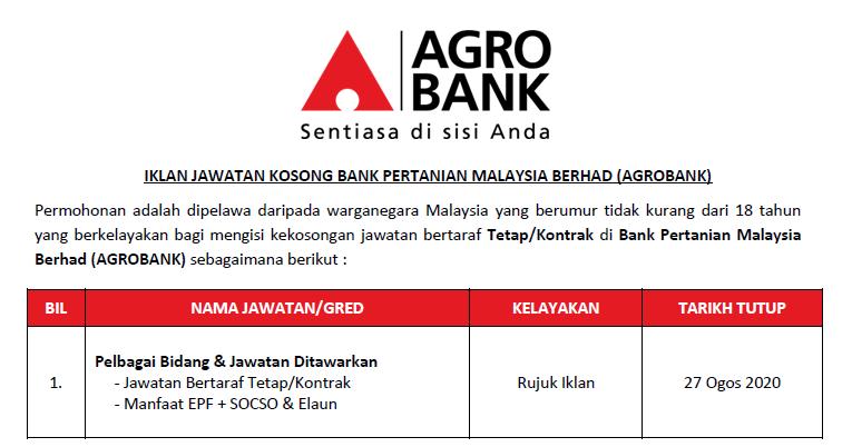 Permohonan Jawatan Kosong Di Bank Pertanian Malaysia Berhad Agrobank Pelbagai Bidang Jawatan