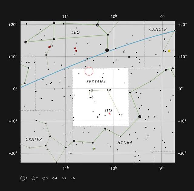Localização do buraco negro com 6 galáxias - ESO - IAU - Sky and Telescope