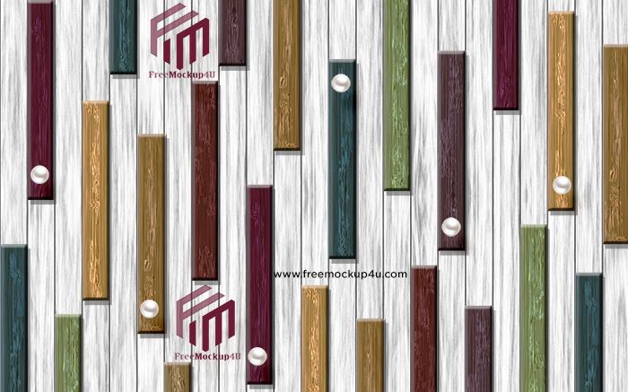 Fashionable Modern Wooden Strips Block Wood Grain Background Wall