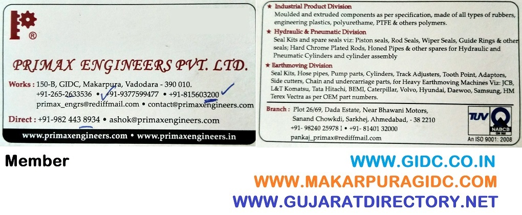 Primax Engineers Pvt Ltd 9824438934, 9375808572, 9426003084, Excavator Parts, Rubber Seals, Rubber Rings, Rubber Product, Rubber Gasket, Rubber Bellows, Hydraulics Cylinders, Trolley Wheel, Rubber Sheet, Heat Exchanger Gaskets, Rubber Expansion Joints, Hydraulic Pump, Track Roller Bearings, Pneumatic Cylinders Seal, R&D Seal Kit, Infrared Thermometer, Hose Pipes, Hydraulic Cylinder Seal, Jcb Seal Kits For Jcb 3d, Pu Hydraulic Seal, Cap Seal And Water Bottle Cap, HCP Rods, Honed Pipes, Nylon Rod, Automotive Spare Parts, Pinch Valve