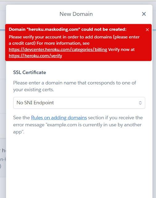 step 4 - cara costom domain heroku