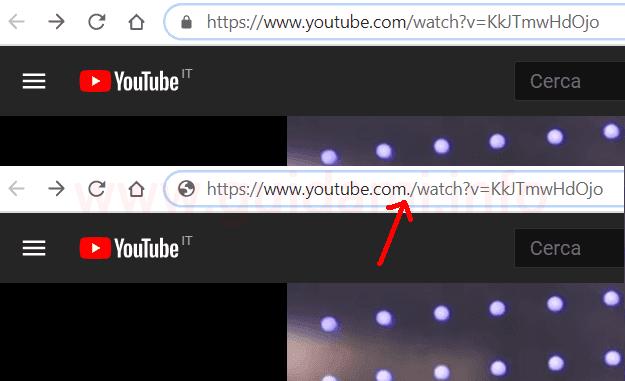 URL video di YouTube con punto dopo il dominio com