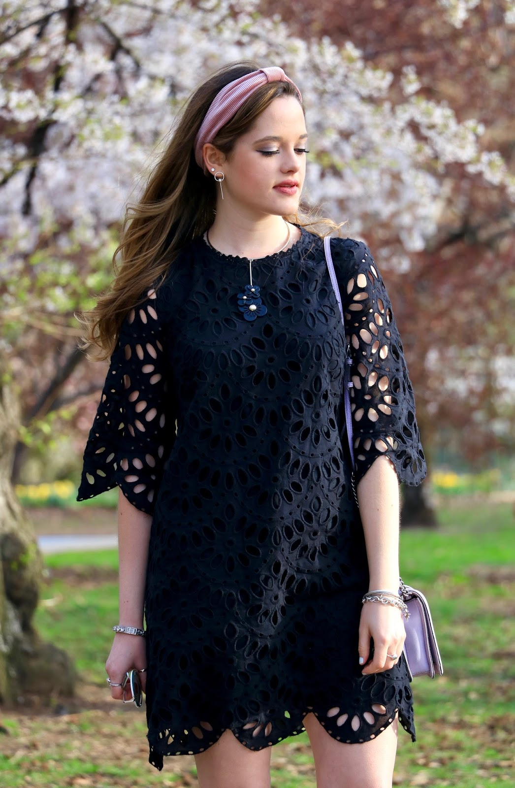 Nyc fashion blogger Kathleen Harper wearing a lace lbd