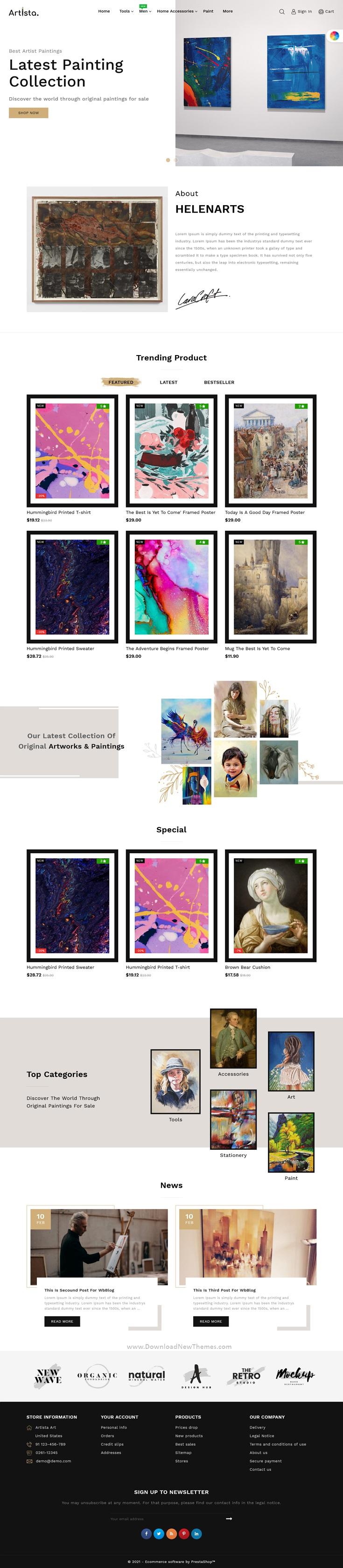 Artist and Painting Designers Agency PrestaShop Theme