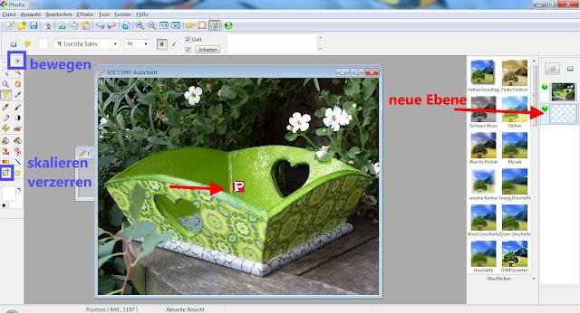 Screenshot PhoXo mit markierten Bearbeitungswerkzeugen