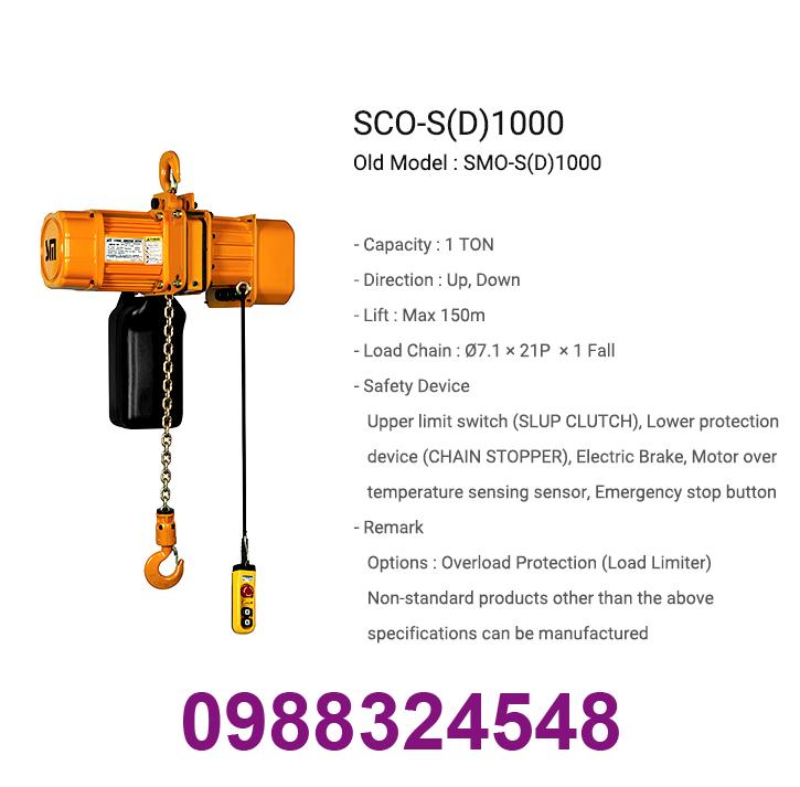palang điện xích Samsung SCO-S1000 1 tấn