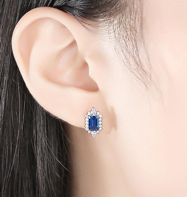華麗典雅風靛藍人造拓帕石 925純銀耳環