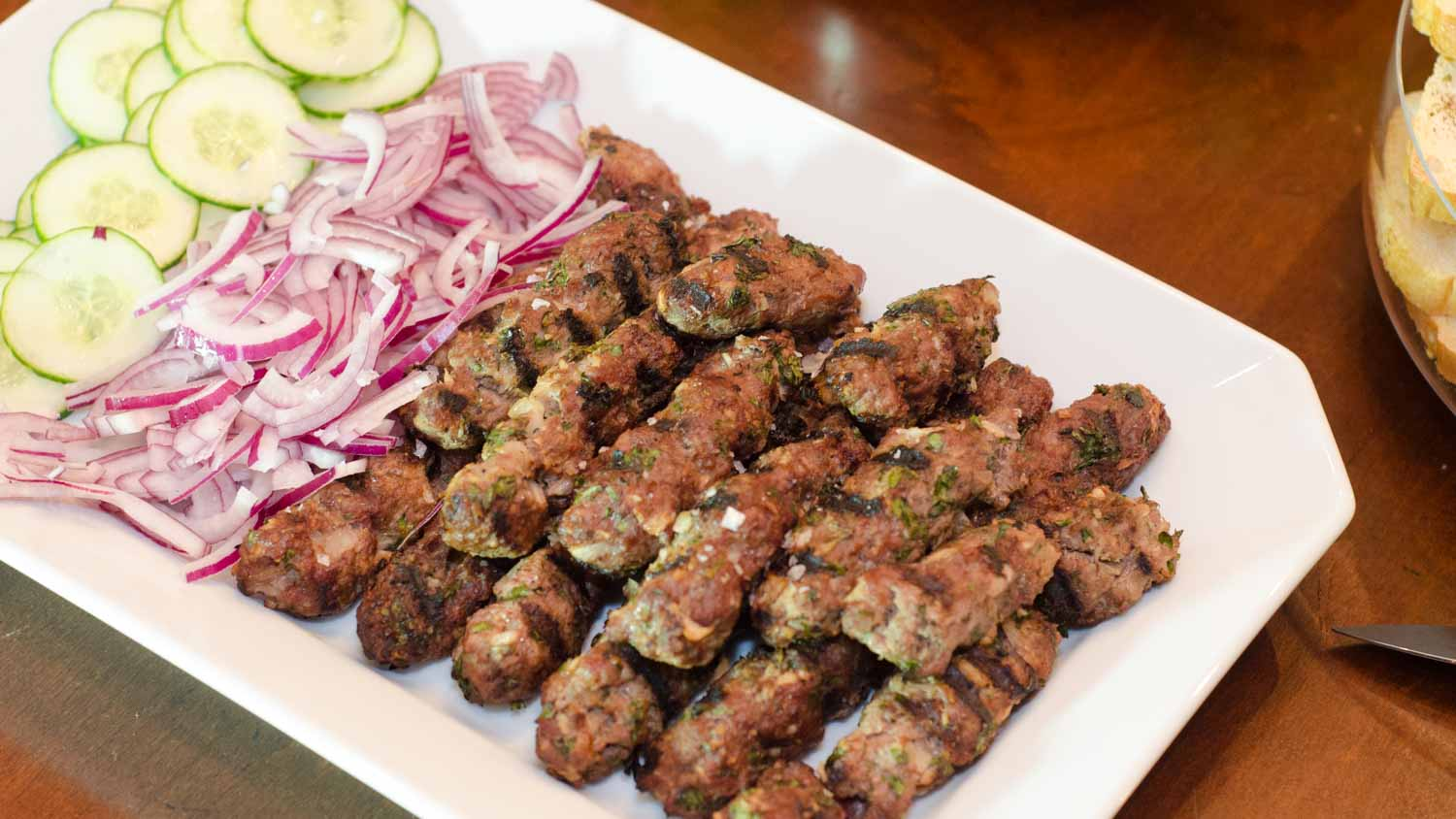 Grilled Beef Kofta with Cucumbers and Red Onions