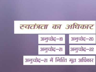 अनुच्छेद 19 से 22 :स्वतंत्रता का अधिकार |Right to freedom in Hindi