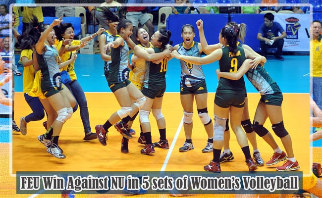 FEU Win Against NU in 5 sets of Women's Volleyball