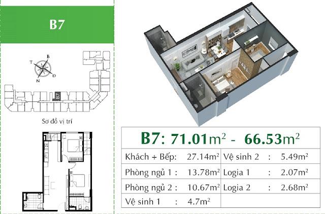 Thiết kế căn B7 Eco City Việt Hưng